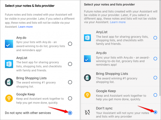 google home default notes lists android iphone