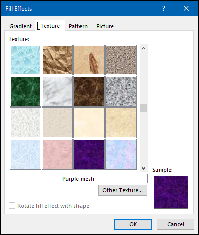 """The """"Texture"""" options in the """"Fill Effects"""" menu."""