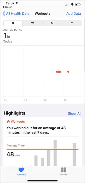 apple health app workouts tab