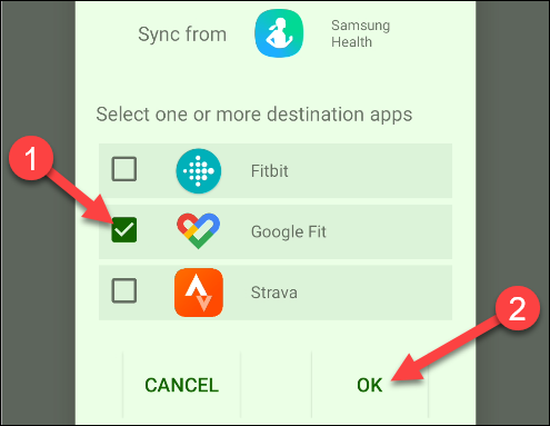 "Tap ""Google Fit,"" and then tap ""OK."""
