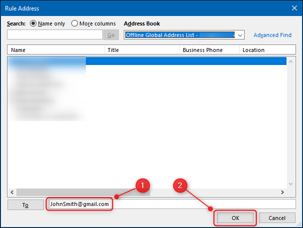 The field in which to put the recipient's email address.