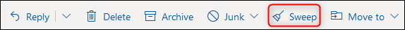 "The Outlook toolbar with the ""Sweep"" button highlighted."
