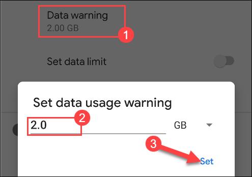 ingrese un número para la advertencia de uso de datos