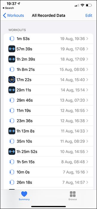workouts list apple health app