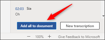 Add all audio transcript content to Word doc