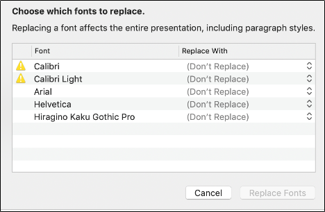 A font replacement dialog box in Keynote.