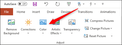"Click ""Color"" in the ""Adjust"" group."