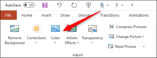 """Click """"Color"""" in the """"Adjust"""" group."""