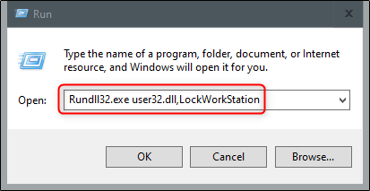 "Type ""Rundll32.exe user32.dll,LockWorkStation"" in the ""Run"" menu."