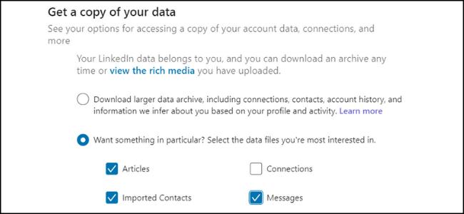 Copia de datos de LinkedIn