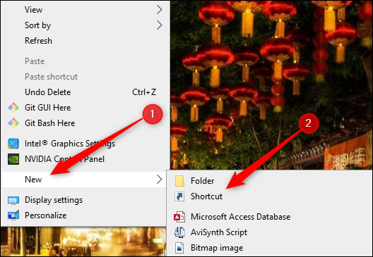 """Hover over """"New,"""" and then select """"Shortcut."""""""