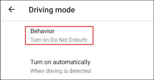 """choose """"behavior"""" for driving mode"""