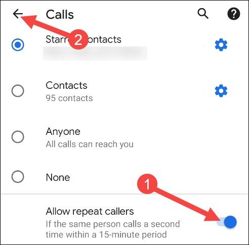 разрешить повторные звонки