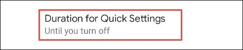 options for quick settings