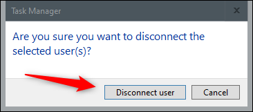 """Click """"Disconnect User."""""""