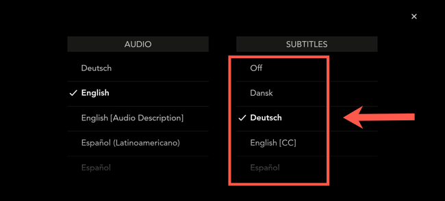 """In the Disney+ mobile app, select one of the languages from the """"Subtitles"""" menu. Otherwise, select """"Off"""" to disable them."""