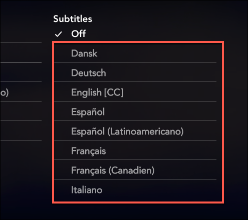 "Select one of the language in the ""Subtitles"" category to enable subtitles on Disney+"