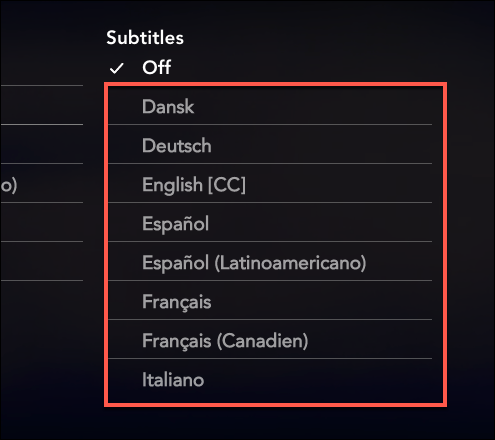 """Select one of the language in the """"Subtitles"""" category to enable subtitles on Disney+"""
