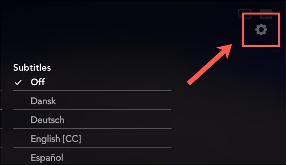 Press the settings cog icon in the audio and subtitles menu to customize your Disney+ subtitles.