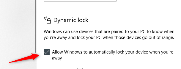 """Select the """"Allow Windows to Automatically Lock Your Device When You're Away """" option."""