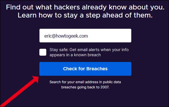 Enter an email address for a Firefox Monitor scan