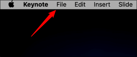 "Click ""File"" in ""Keynote."""