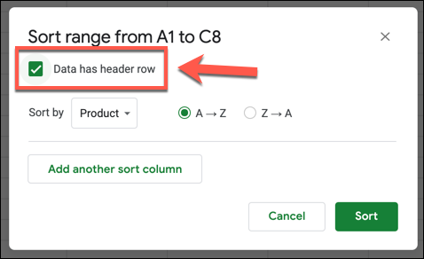 """Click the """"Data Has Header Row"""" checkbox to use column header labels during a sort in Google Sheets"""