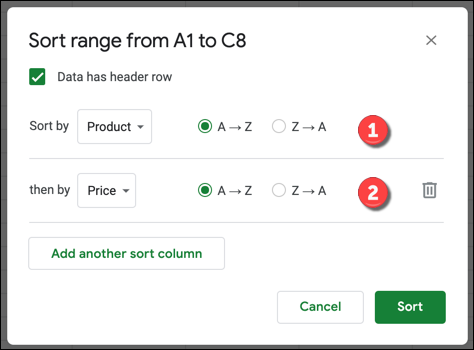 A Google Sheets sort options box with multiple columns added.