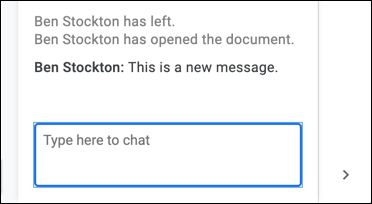 Examples of notifications in the Google Docs edit chat, where an editor closes and reopens a document.