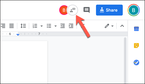 "In an open Google Docs document with multiple active editors, press the ""Show Chat"" icon in the top-right corner."