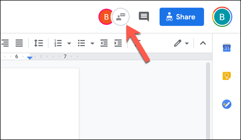"""In an open Google Docs document with multiple active editors, press the """"Show Chat"""" icon in the top-right corner."""