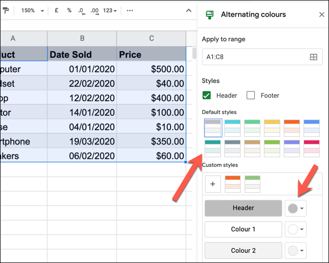 """The """"Alternating Colors"""" panel in Google Sheets."""