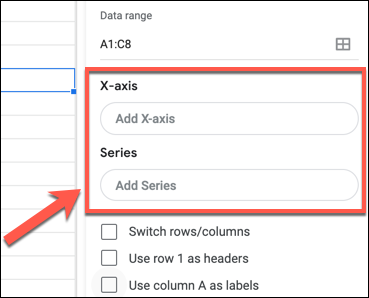 """Click """"Add X-Axis"""" or """"Add Series"""" to add an X or Y-axis to a Google Sheets chart or graph in the Chart Editor panel."""
