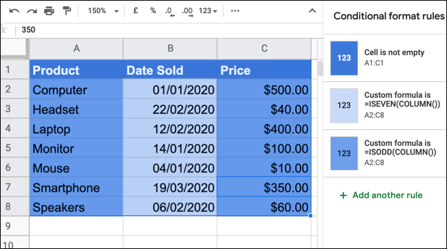 A blue, alternating color scheme in Google Sheets.