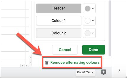 "Click ""Remove Alternating Colors"""