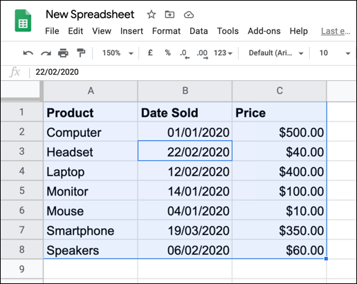 Selected data in a Google Sheets spreadsheet.