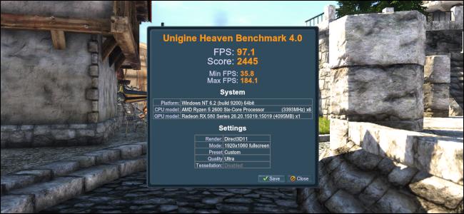 Benchmark results on Unigine Heaven.