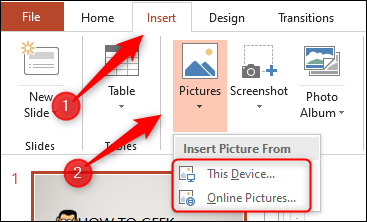"""Click """"Insert,"""" select """"Pictures,"""" and then click """"This Device"""" or """"Online Pictures."""""""