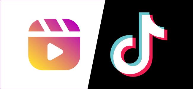 Los logotipos de Instagram Reels y TikTok.