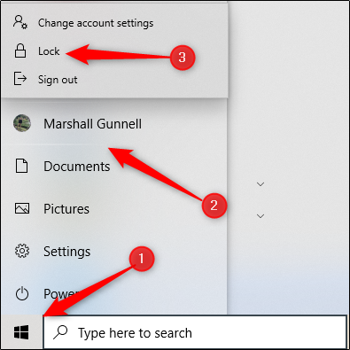 """Click the Start button (the Windows icon), select your account name, and then click """"Lock."""""""