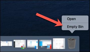 """Right-click the Trash icon, and then click """"Empty Bin."""""""