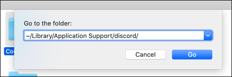 """""""~/Library/Application Support/discord/"""" in the """"Go to the Folder"""" text box."""