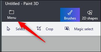 Menu option in paint 3d
