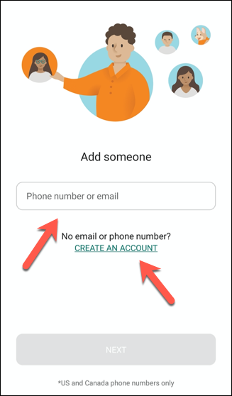 """Type someone's email address or phone number to invite them to the Microsoft Family Safety app, and tap """"Create an Account"""" to create a Microsoft account for anyone who doesn't have one."""