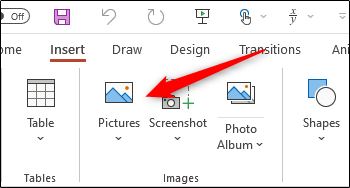 Pictures option in Insert group