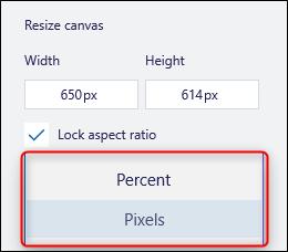 Pixel drop-down menu
