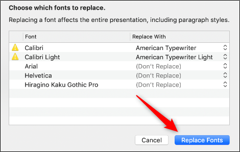 "Click ""Replace Fonts."""