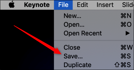 "Click ""File,"" and then click ""Save"" in Keynote."
