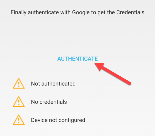 """Select """"Authenticate."""""""