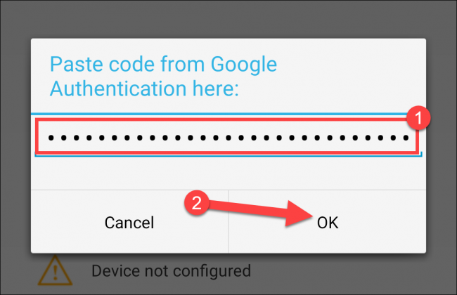 """Paste the authentication code, and then tap """"OK."""""""